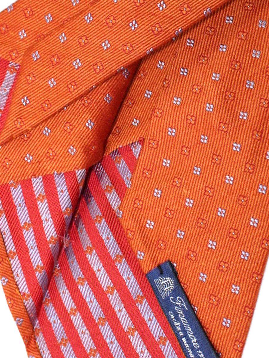 Finamore Unlined Sevenfold Tie Orange Blue Floral