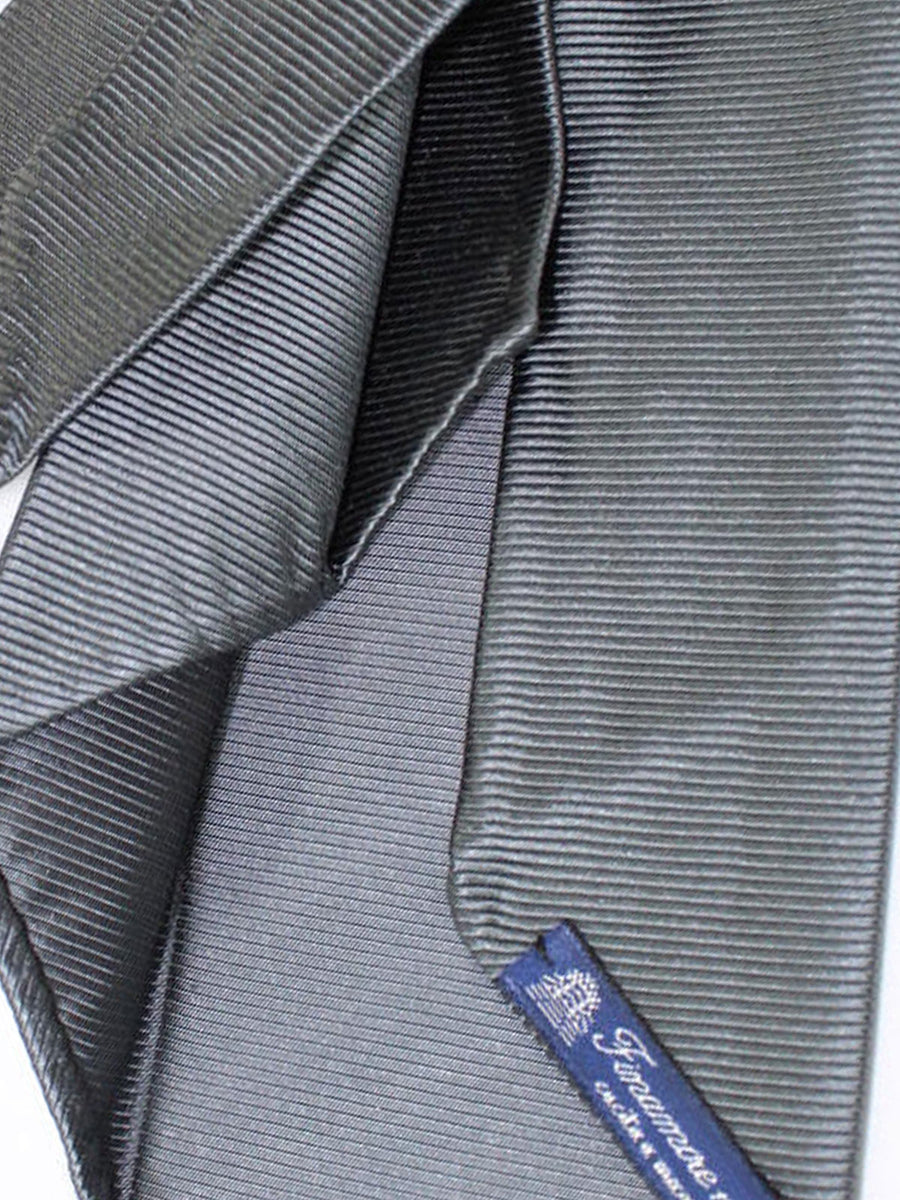 Finamore Unlined Sevenfold Tie Charcoal Gray Grossgrain