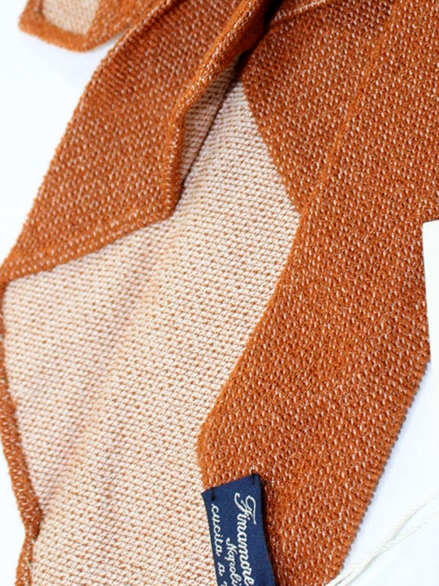 Finamore Unlined Sevenfold Tie Rust Brown Gray Solid