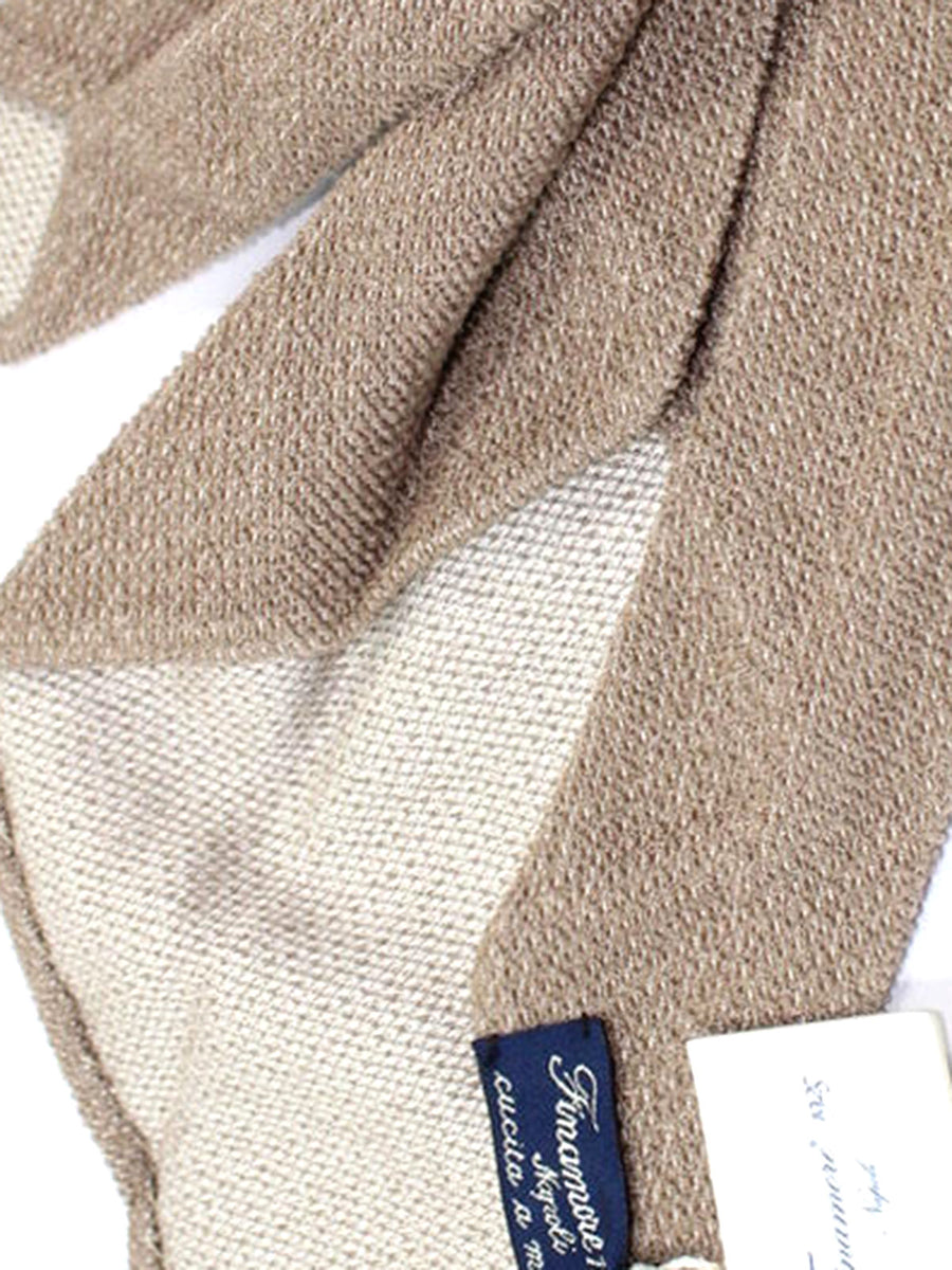 Finamore Unlined Sevenfold Tie Taupe Gray Solid