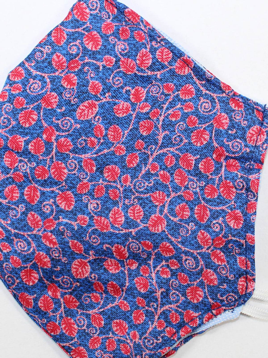 Silk Face Mask Navy Blue Red Floral New