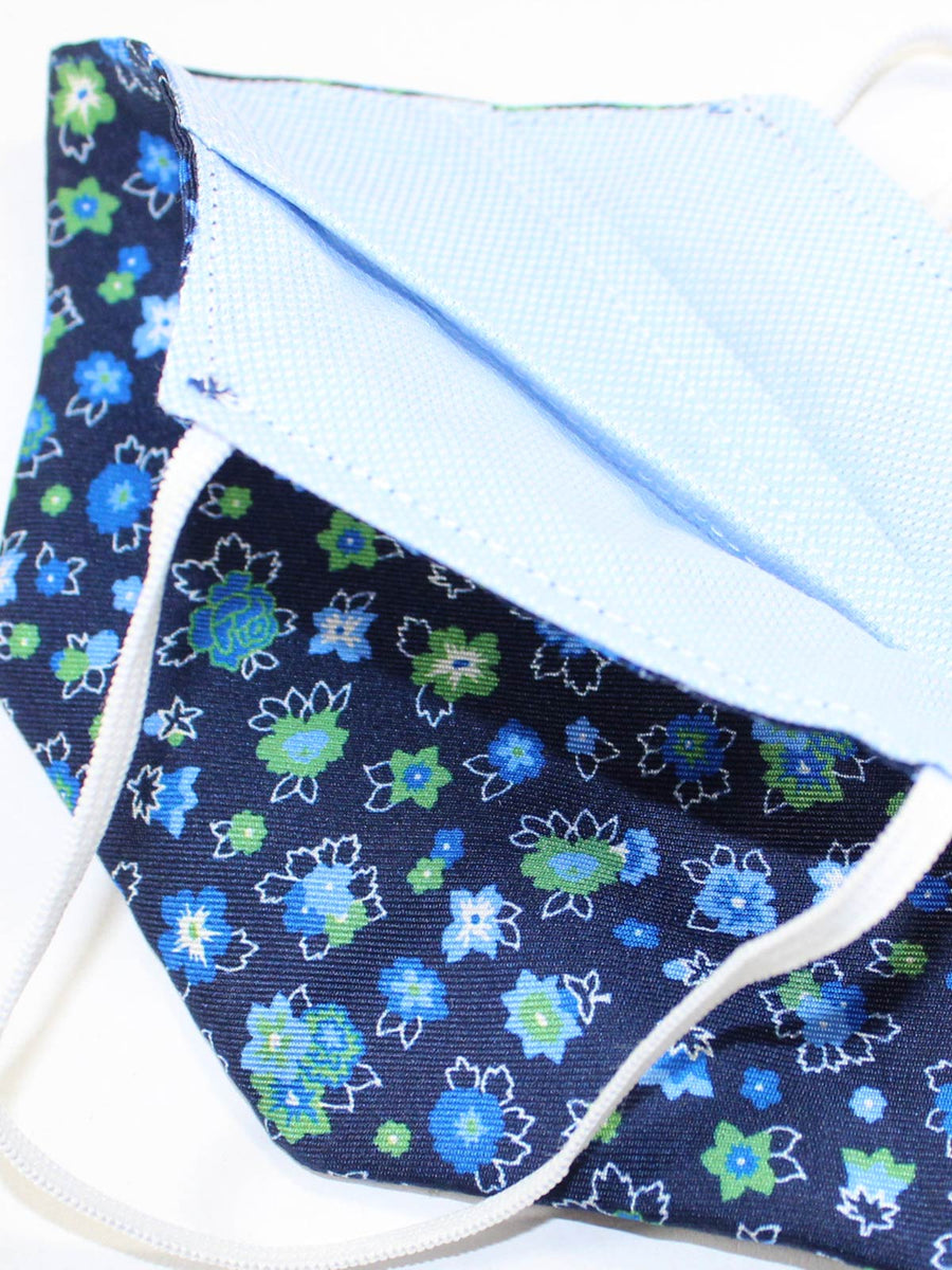 Massimo Valeri Silk Face Navy Blue Green Floral - Made in Italy