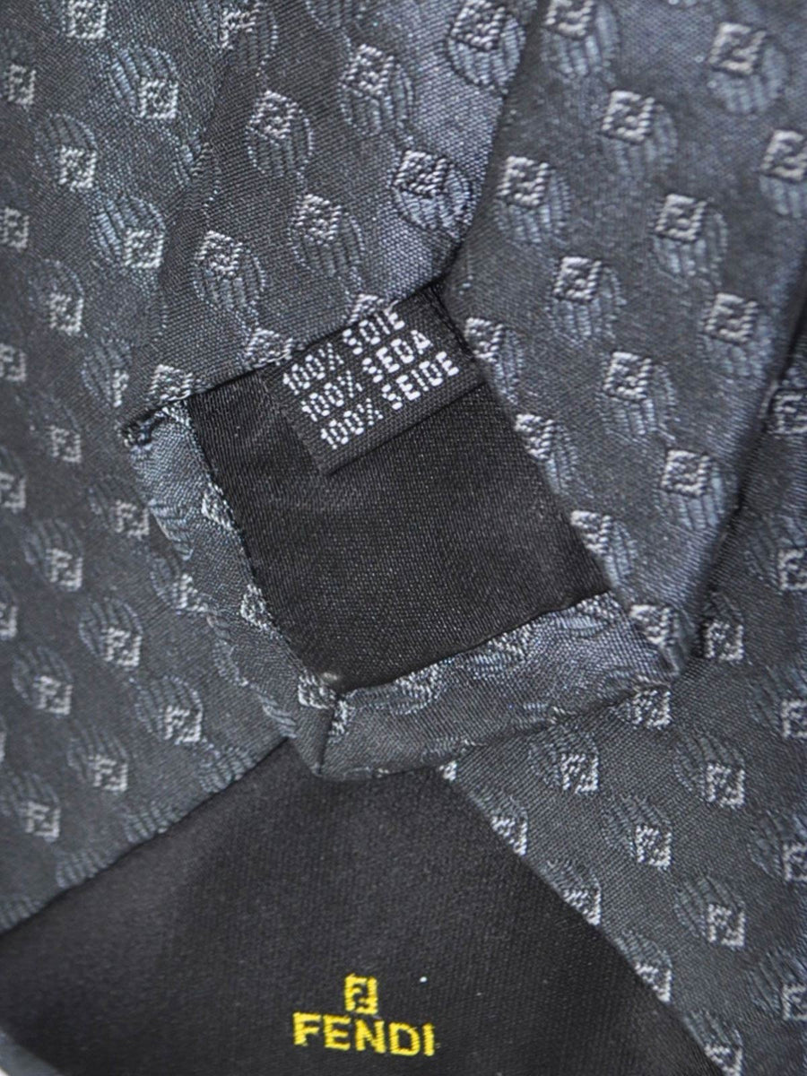 Fendi Silk Tie Dark Gray F Logo Print - SALE