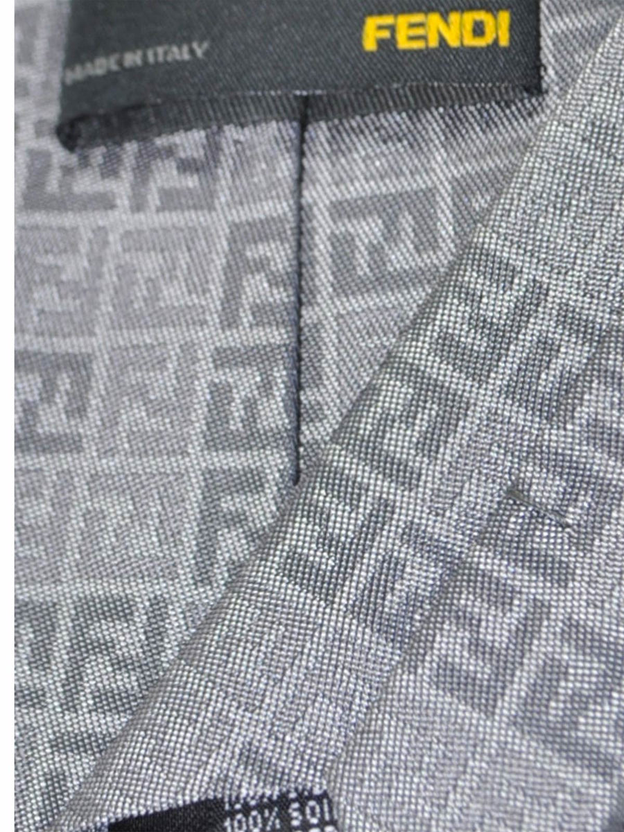 Fendi Silk Tie Gray Signature F Logo Print SALE