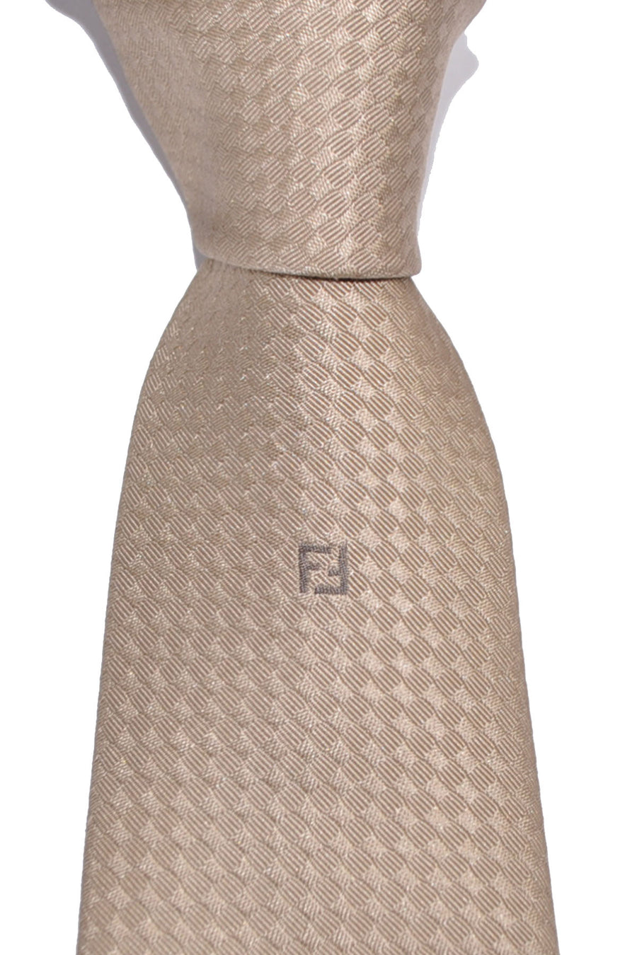 Fendi Silk Tie Taupe Design - FINAL SALE