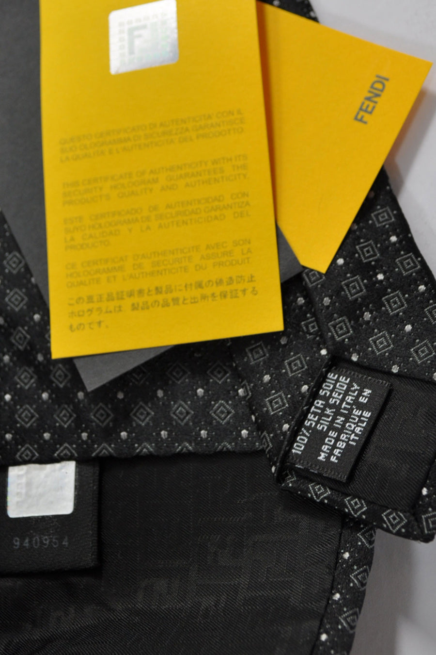 Fendi Silk Tie Gray Squares & Dots - Made In Italy