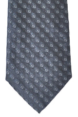 Fendi Silk Tie Dark Gray F Logo Print