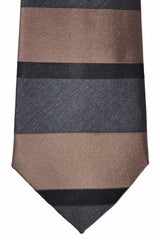 Fendi Silk Tie Gray Brown Stripes