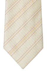 Fendi Silk Tie Cream Gold Stripes