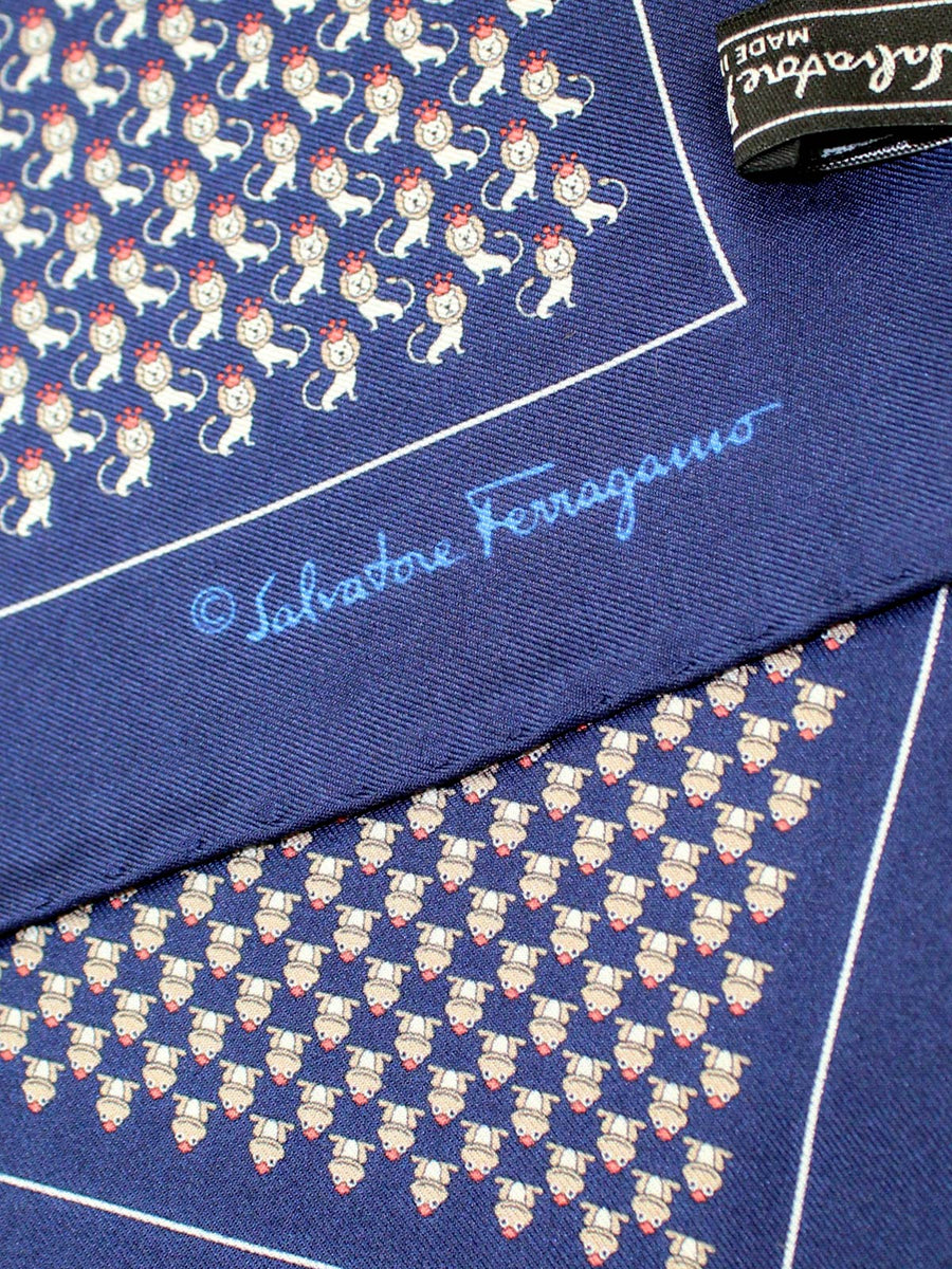 Salvatore Ferragamo Pocket Square Navy Lion Frog Novelty