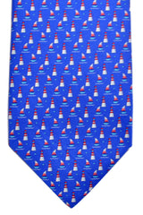 Salvatore Ferragamo Tie Royal Blue Sail Boats