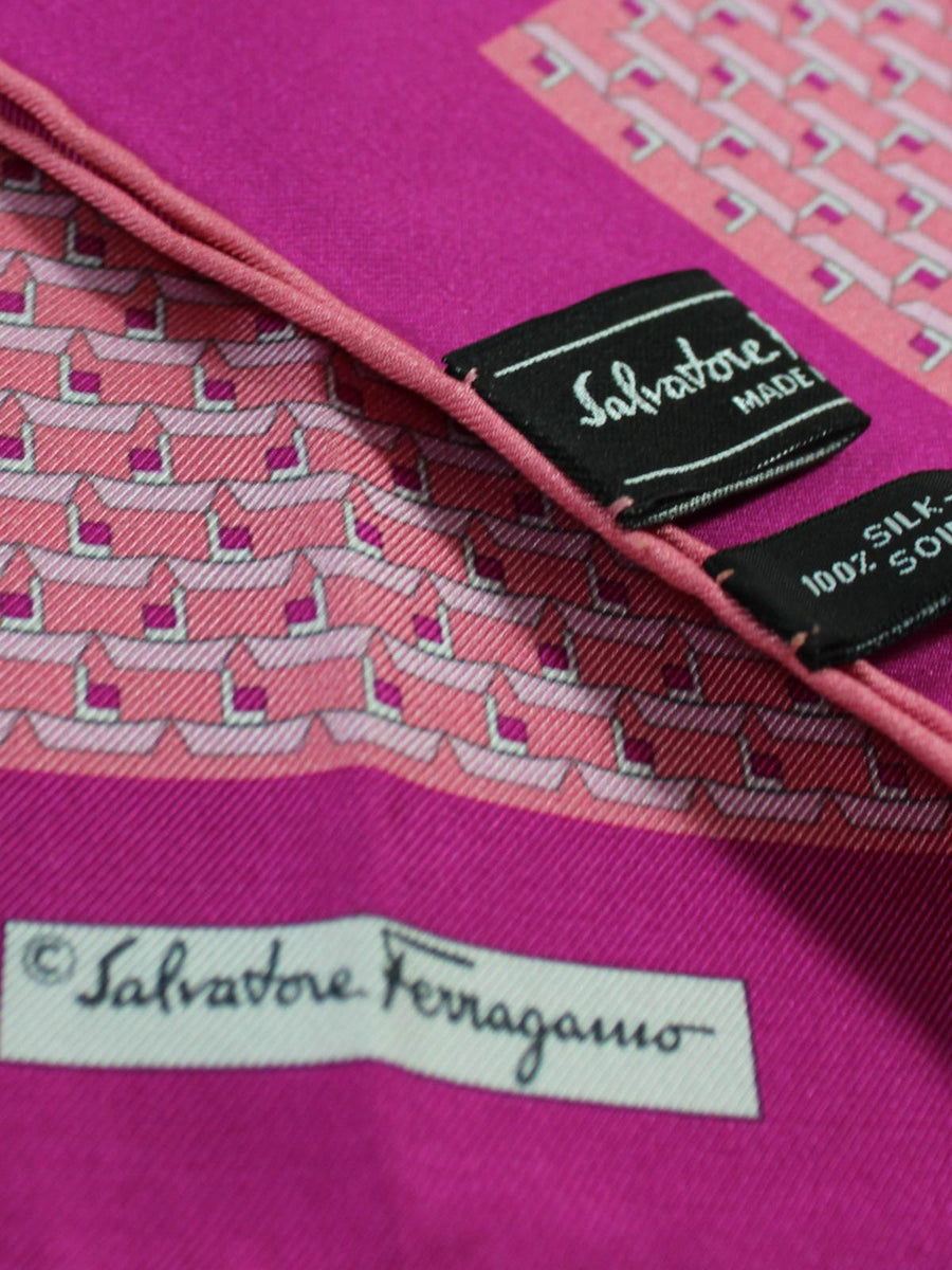 Salvatore Ferragamo Silk Pocket Square Pink Paper Boat Design