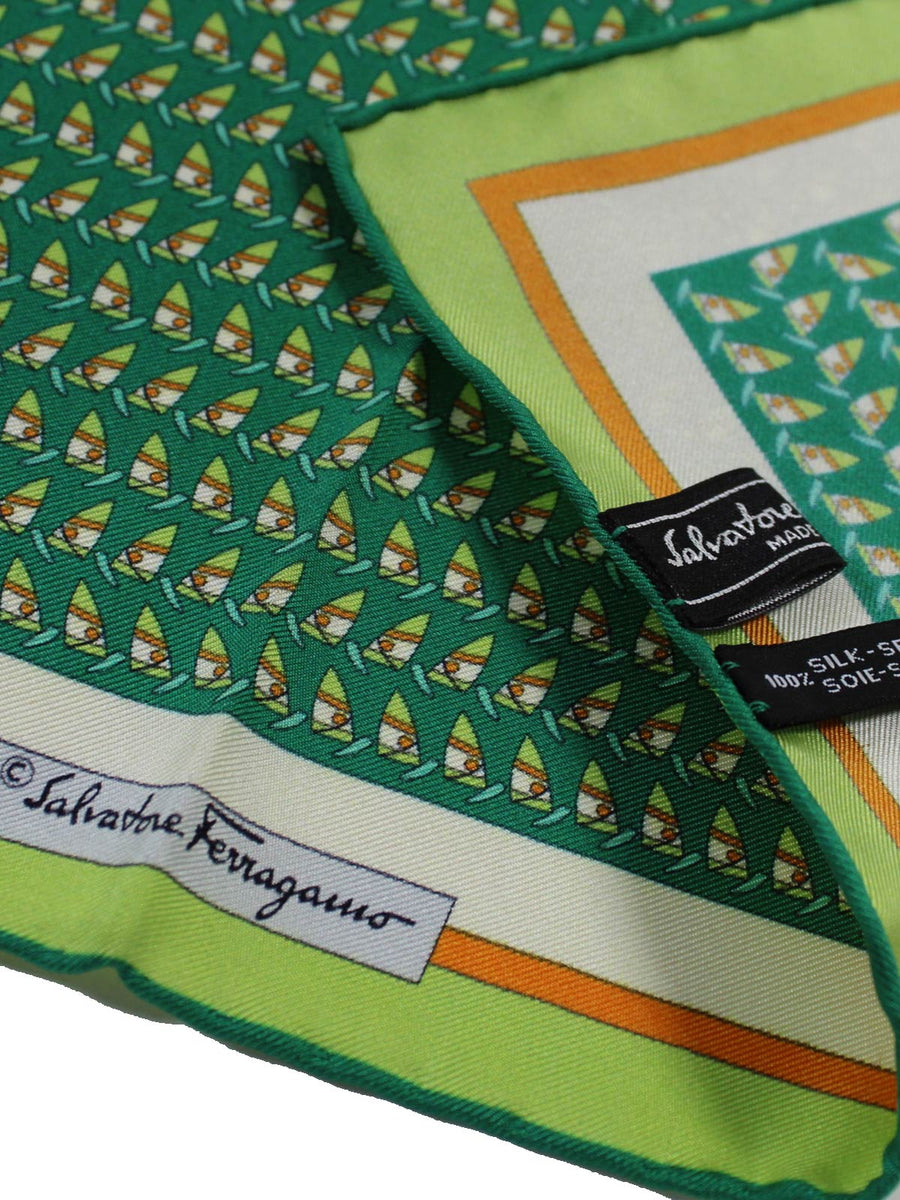 Salvatore Ferragamo Silk Pocket Square Green Orange Wind Surf