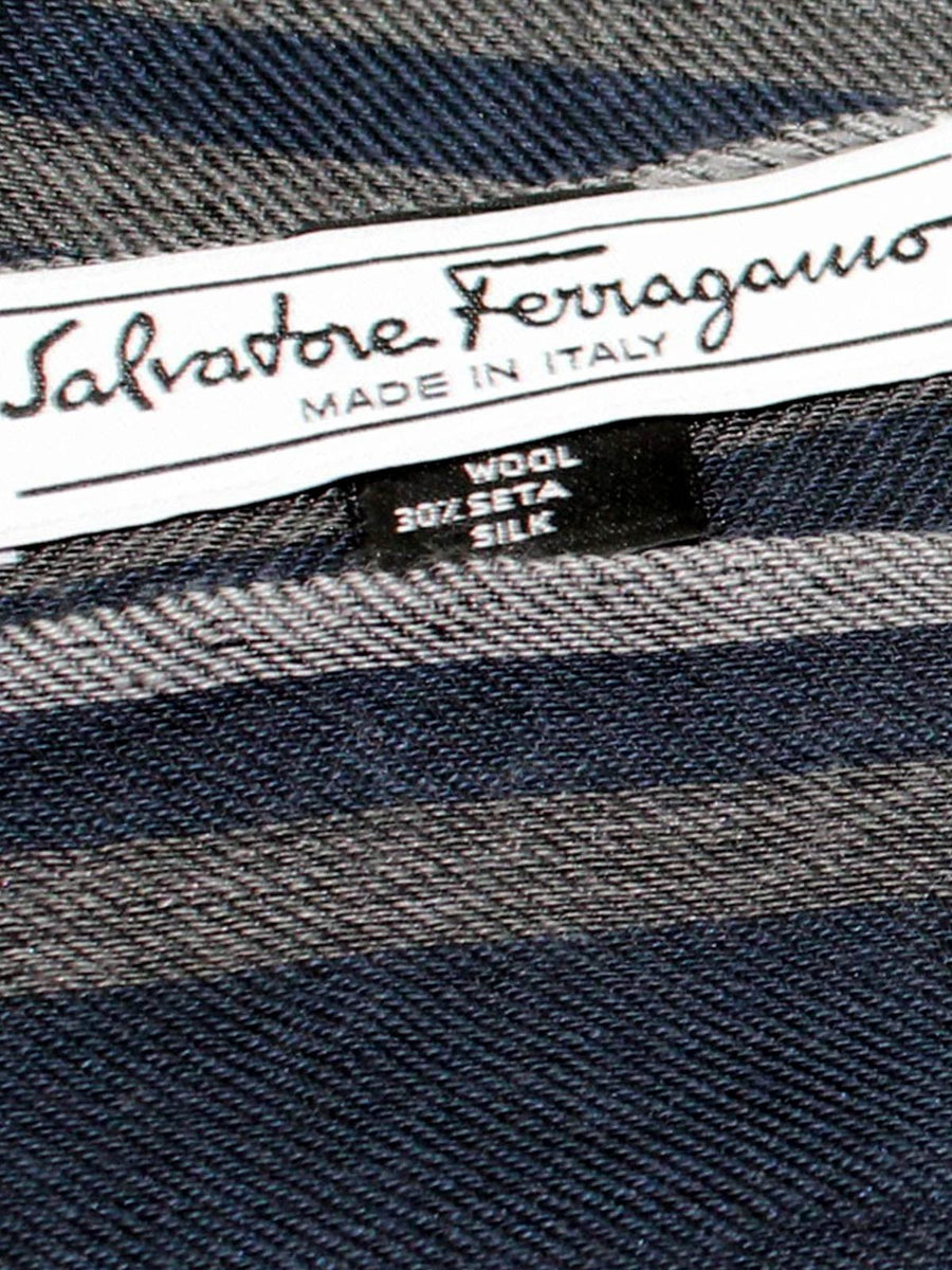 Salvatore Ferragamo Cashmere Silk Scarf Midnight Blue Gray Stripe