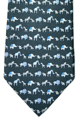 Salvatore Ferragamo Tie Gray Safari Animals