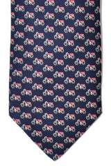 Salvatore Ferragamo Tie Navy Motor Bike Print New