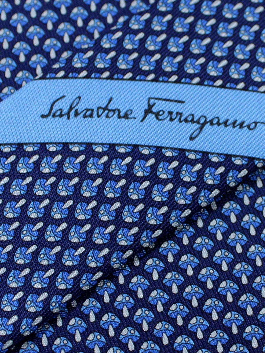 Salvatore Ferragamo Tie Navy Blue Mushrooms Jacquard Silk Fall / Winter 2018 / 2019