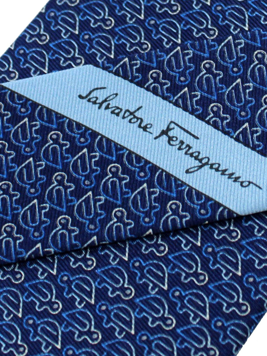 Salvatore Ferragamo Tie Navy Blue Turtle Jacquard Silk Fall / Winter 2018 / 2019