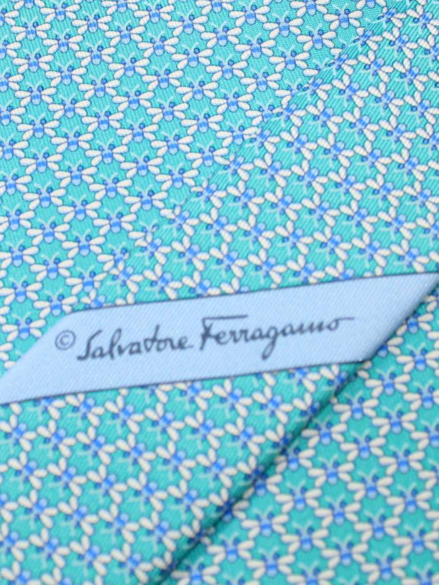 Salvatore Ferragamo Silk Tie Aqua Butterfly Novelty