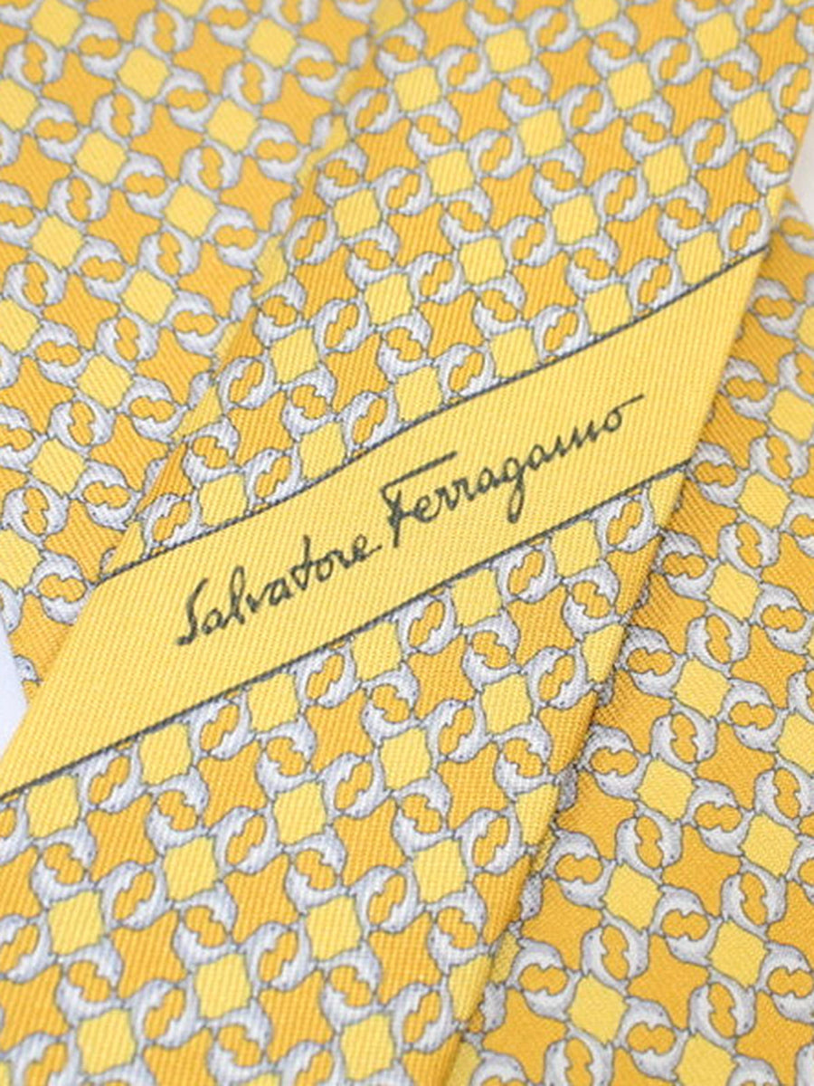 Salvatore Ferragamo Silk Tie Yellow Dolphins