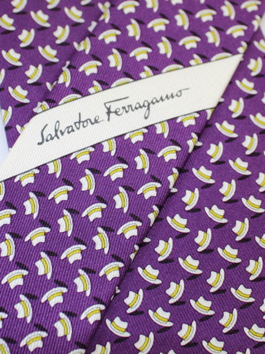 Salvatore Ferragamo Silk Tie Purple Hats