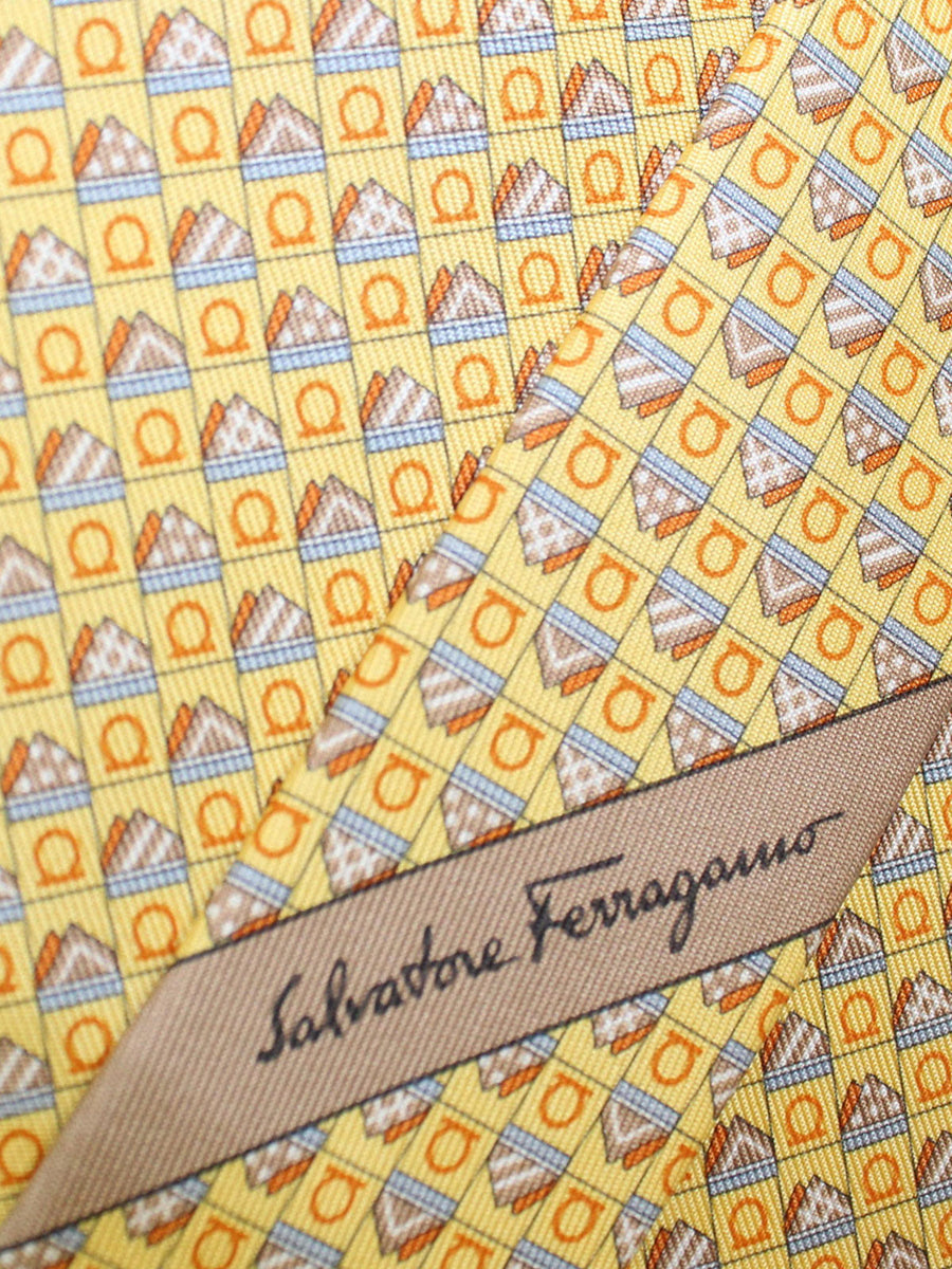 Salvatore Ferragamo Silk Tie Yellow Geometric Novelty