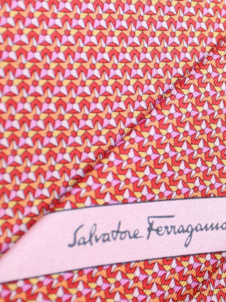 Salvatore Ferragamo Silk Tie Pink Orange Lilac Stars Novelty
