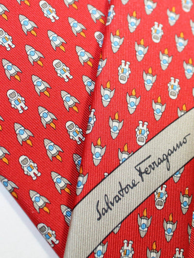 Salvatore Ferragamo Silk Tie Red Rocket Astronaut SALE