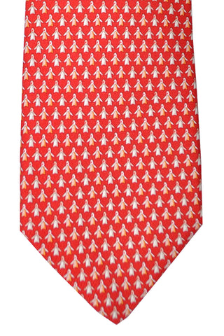 Salvatore Ferragamo Tie Red Penguin Design Novelty Necktie SALE