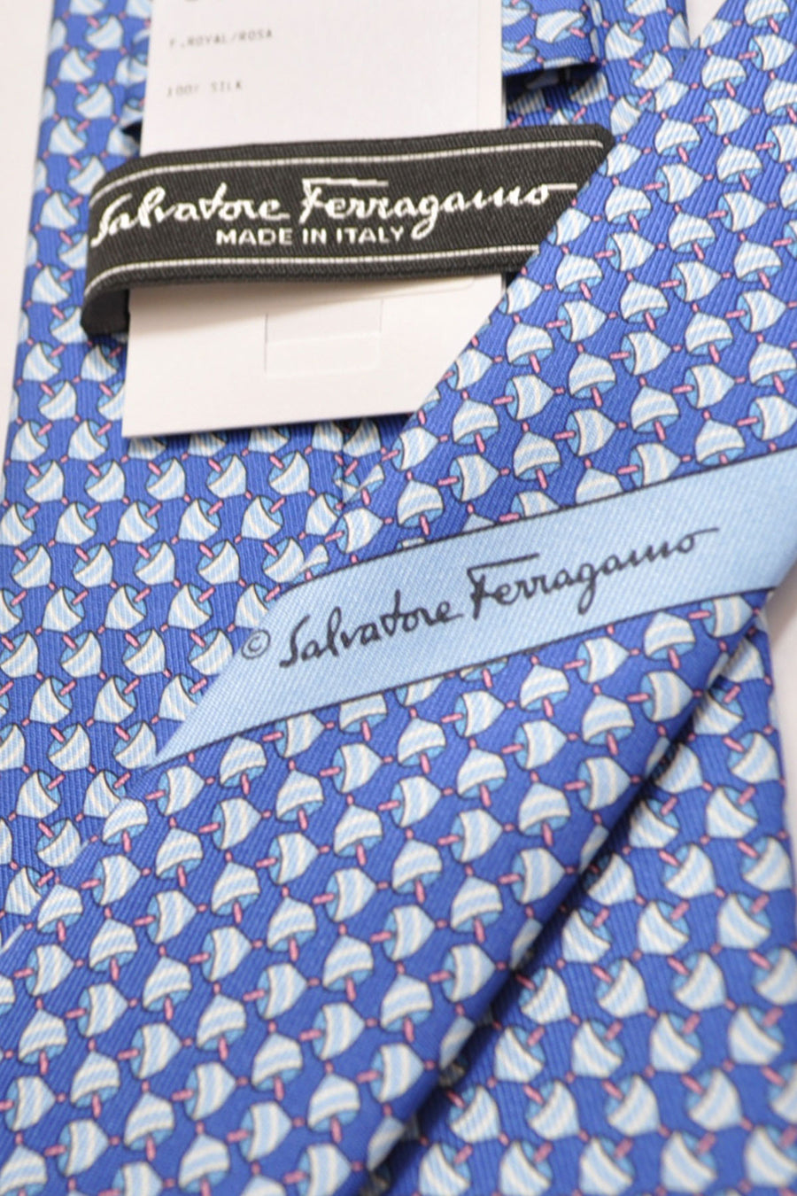 Salvatore Ferragamo Tie Royal Blue Spinning Tops