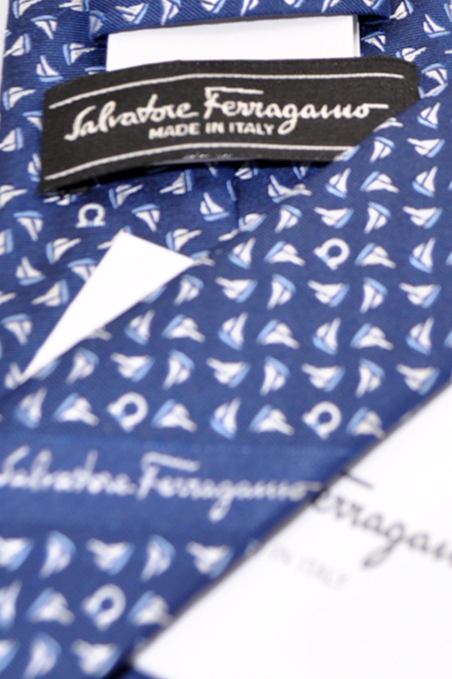 Salvatore Ferragamo Tie Navy Sail Boat - Spring / Summer 2017 Collection