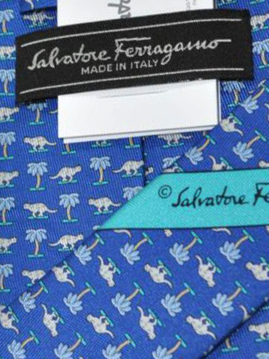 Salvatore Ferragamo Tie Royal Blue Cheetah - Spring / Summer 2018 Collection
