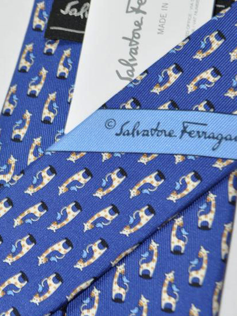 Salvatore Ferragamo Tie Navy Giraffe - 2018 Collection