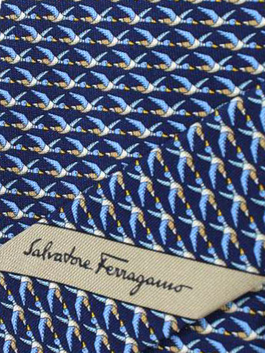 Salvatore Ferragamo Tie Navy Blue Ducks Jacquard Silk Fall / Winter 2018 / 2019