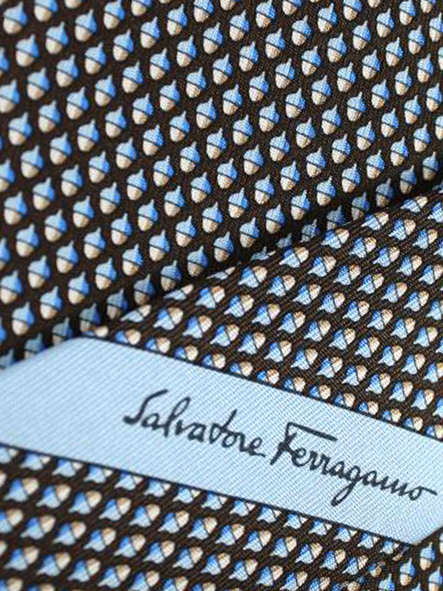 Salvatore Ferragamo Tie Brown Acorn Jacquard Silk Fall / Winter 2018 / 2019