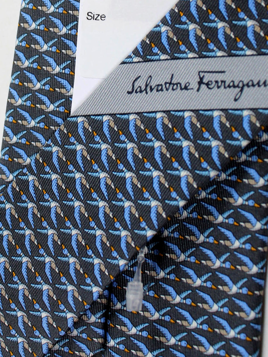 Salvatore Ferragamo Tie Gray Duck Fall / Winter 2018 / 2019