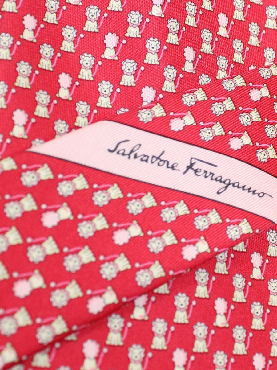 Salvatore Ferragamo Tie Red Lion Novelty