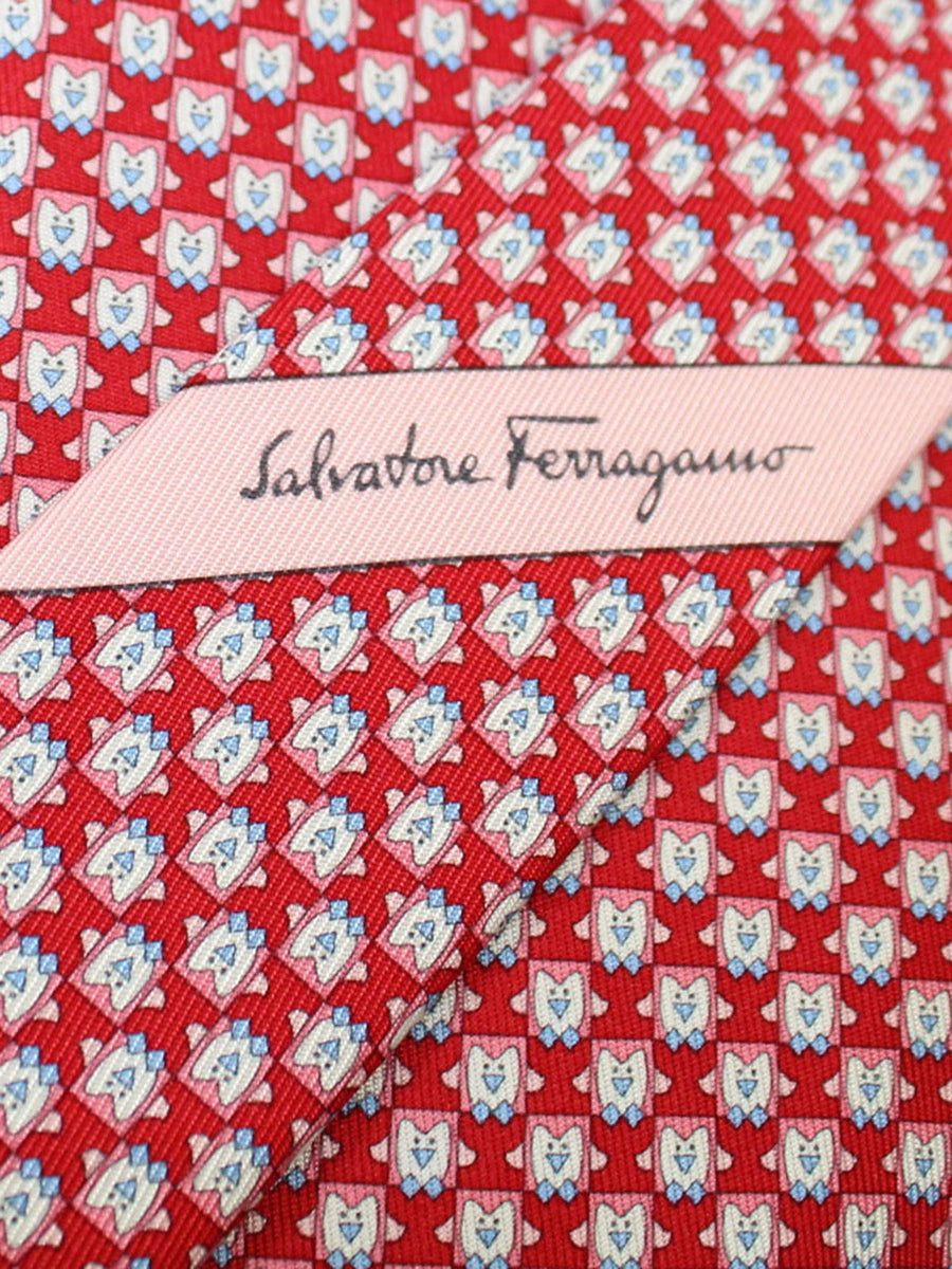 Salvatore Ferragamo Tie Red Penguin Novelty