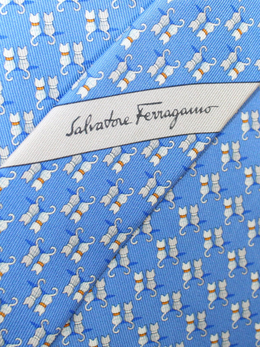Salvatore Ferragamo Tie Blue Cats Novelty