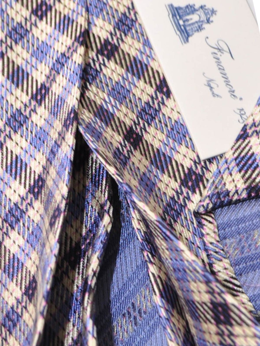 Finamore Sevenfold Tie Silver Blue Navy Pink Check SALE