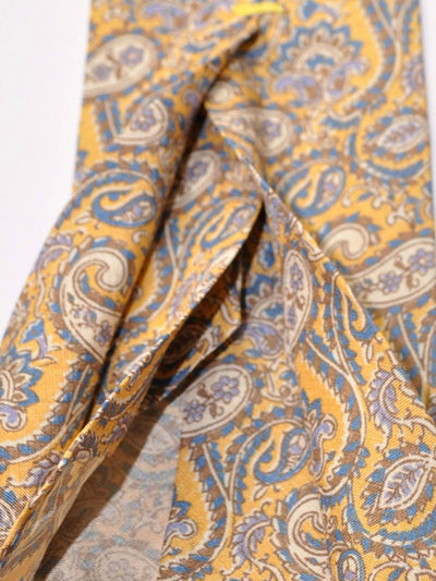 Finamore Unlined Ninefold Tie Yellow Blue Paisley Design