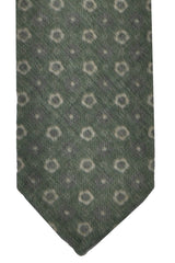 Finamore Sevenfold Tie Forest Green Gray Geometric Wool Silk