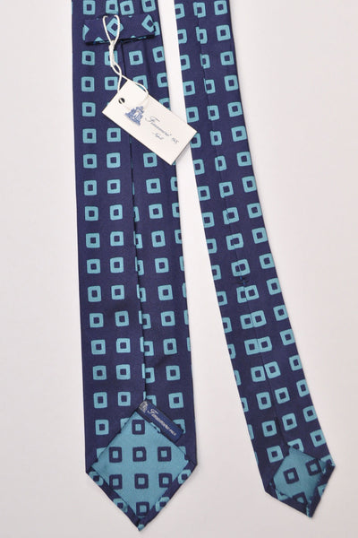 Finamore Unlined Sevenfold Tie Navy Aqua Design