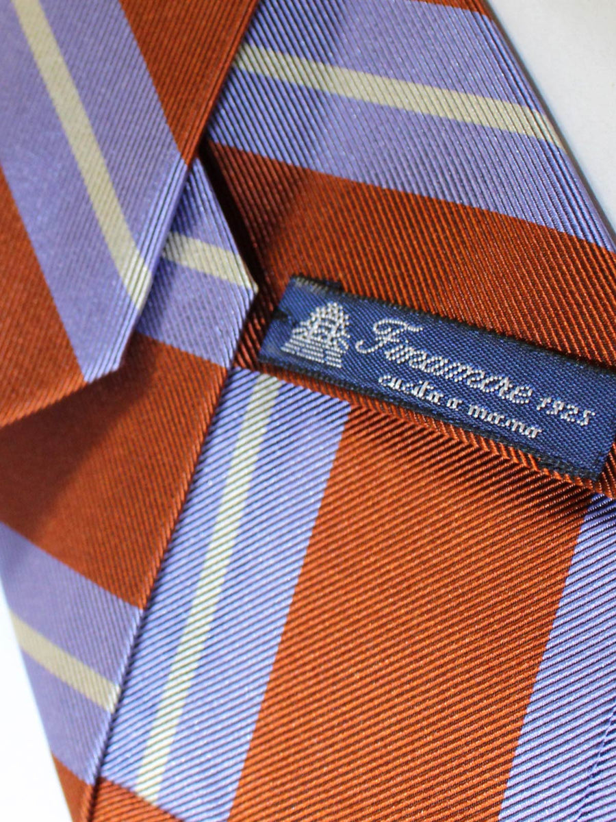 Finamore Sevenfold Tie Rust Brown Lilac Stripes