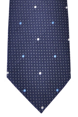 Franco Bassi Tie Navy Blue Silver Dots - Made in Italy