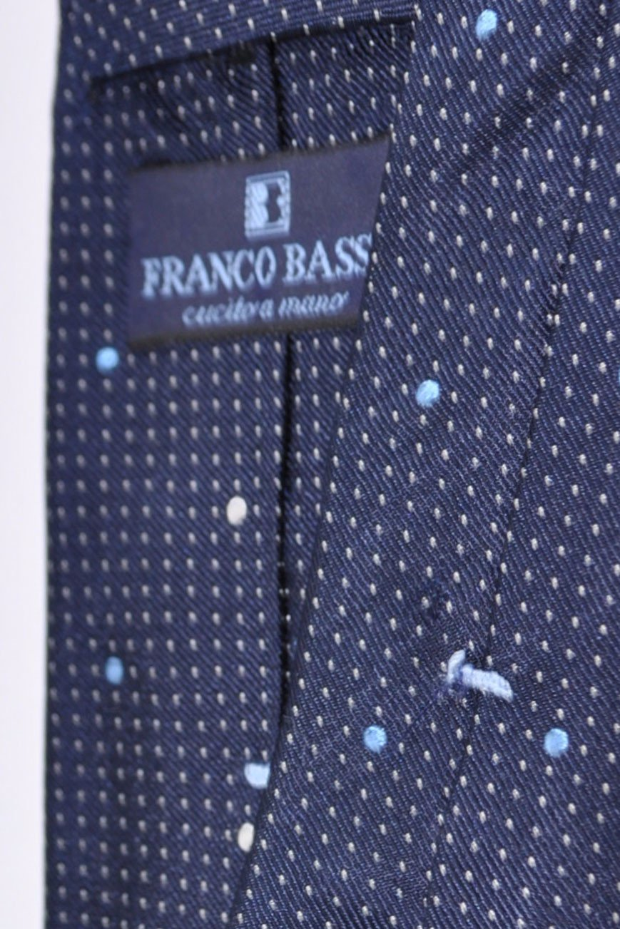 Franco Bassi Tie Navy Blue Silver Dots Made in Italy SALE