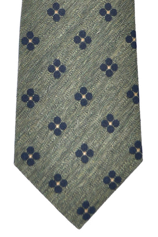 Franco Bassi Tie Forest Green Navy Dots - Made in Italy FINAL SALE
