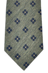 Franco Bassi Tie Green Navy Geometric - Made in Italy