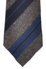 Franco Bassi Tie Taupe Dark Gray Metallic Blue Stripes - Made in Italy