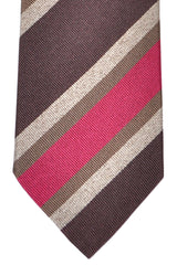 Franco Bassi Tie Brown Fuchsia Stripes - Made in Italy